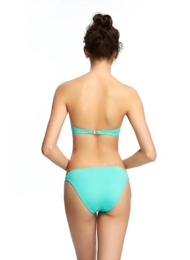 Reflections Mix Match Çıkarılabilir Askılı Dolgulu Straplez Düz Bikini Üst Yeşil